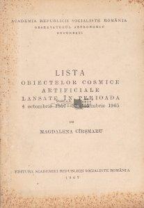 Lista obiectelor cosmice artificiale lansate in perioada 4 octombrie 1957 - 31 decembrie 1965