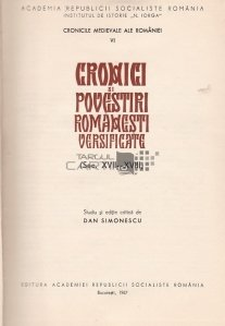 Cronici si povestiri romanesti versificate
