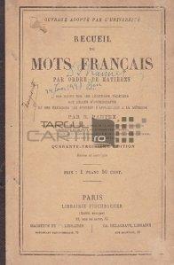 Recueil de mots francais par ordre de matiers