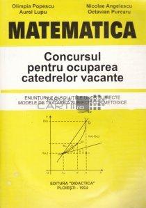 Matematica: Concursul pentru ocuparea catedrelor vacante