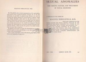 Sexual anomalies / Anomalii sexuale;originea,natura si tratatmentul dezordinilor sexuale