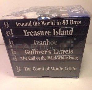 Adventure classics box set of six books / Set 6 volume romane clasice de aventuri;Colt alb, Ivanhoe, Insula comorilor,Ocolul pamantului in 80 de zile,Calatoriile lui Gulliver,Contele de Monte Cristo