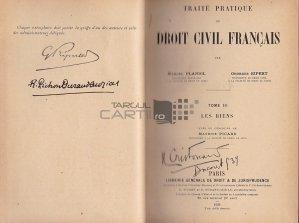 Traite pratique de droit civil francais / Tratat practic de drept civil francez;Bunurile