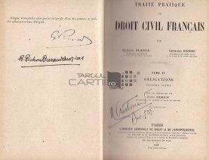 Traite pratique de droit civil francais / Tratat practic de drept civil francez;Obligatiuni