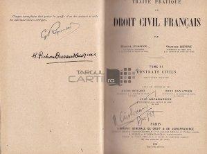 Traite pratique de droit civil francais / Tratat practic de drept civil francez;Contracte civile