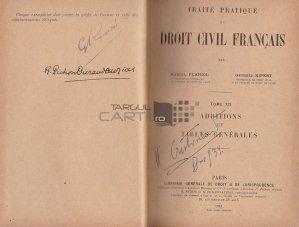 Traite pratique de droit civil francais / Addenda si tabla de materii