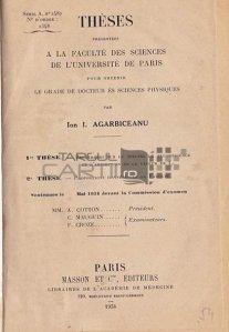 Theses presentees a la faculte des sciences de l'Universite de Paris pour obtenir le grade de docteur en sciences physiques / Teza de doctorat in fizica la universitatea de stiinte Paris; Cercetari asupra spectrului fluorescentei si absorbtiei vaporilor de I2