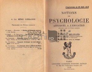 Notions de psychologie applique a l'education / Notiuni de psihologie aplicate in educatie