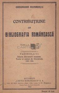 Contributiune la bibliografia romaneasca