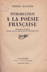 Introduction a la poesia francaise / Introducere in poezia franceza