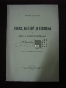 Obiect, metoda si doctirna in stiinta intreprinderilor