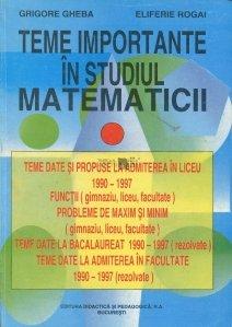Teme importante in studiul matematicii