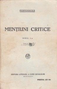Mentiuni critice