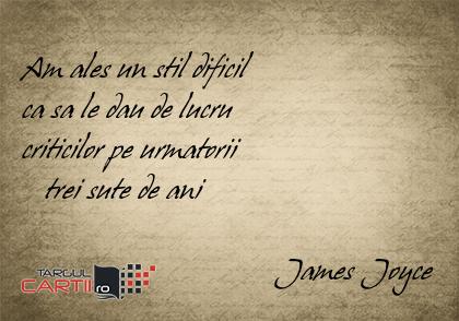 Am ales un stil dificil  ca sa le dau de lucru  criticilor pe urmatorii     trei sute de ani                                   James Joyce